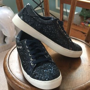 Navy Glam Glitter Sneakers Size 8